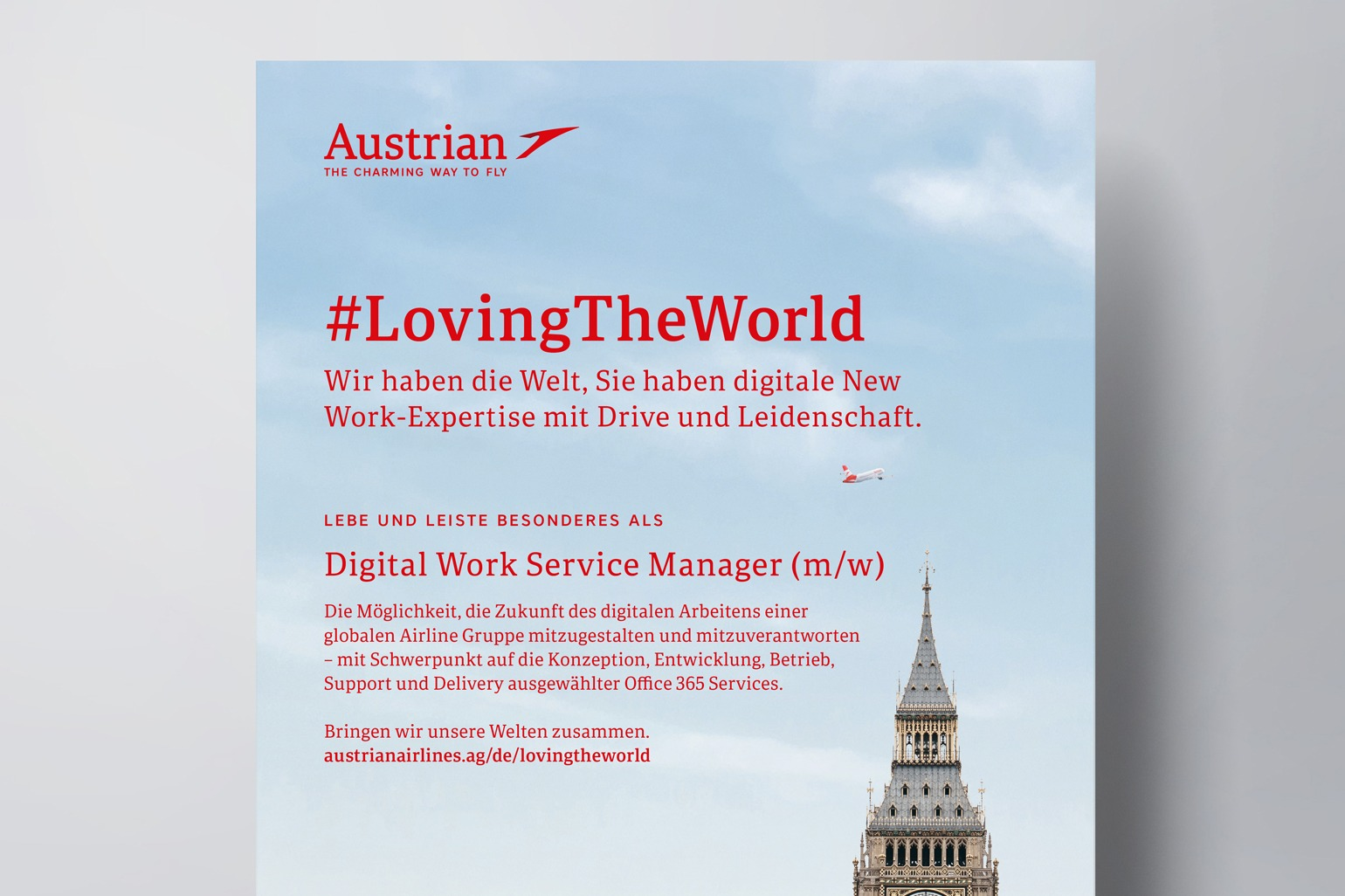 Austrian Airlines Employer Branding Stelleninserat im Detail