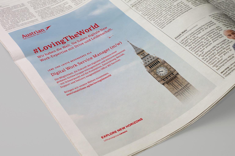 Austrian Airlines Employer Branding Print Stelleninserat
