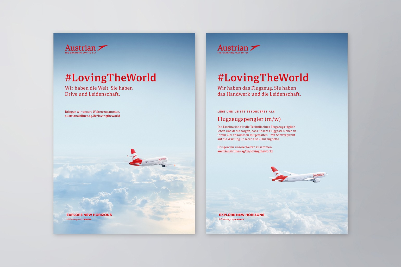 Austrian Airlines Employer Branding Stelleninserat Versionen