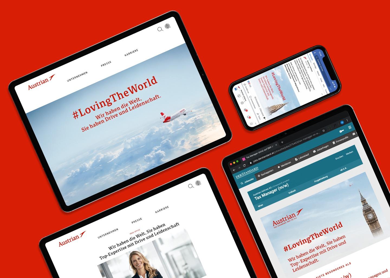 Arbeit als Employer Branding Agentur: Beispiele für Employer Brand Design, Personalmarketing, Arbeitgeberkommunikation und Karriere Kampagne für den Arbeitgeber Austrian Airlines